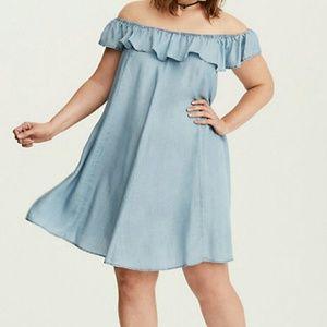 Torrid Chambray Off the Shoulder Ruffle Dress